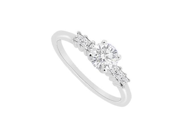 Diamond Round and Princess Cut Engagement Ring in 14K White Gold 0.60 Carat Diamonds