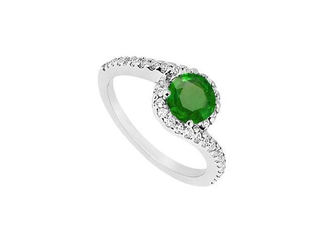 May Birthstone Created Emerald and CZ Halo Engagement Ring in 14kt White Gold 1 CT TGW