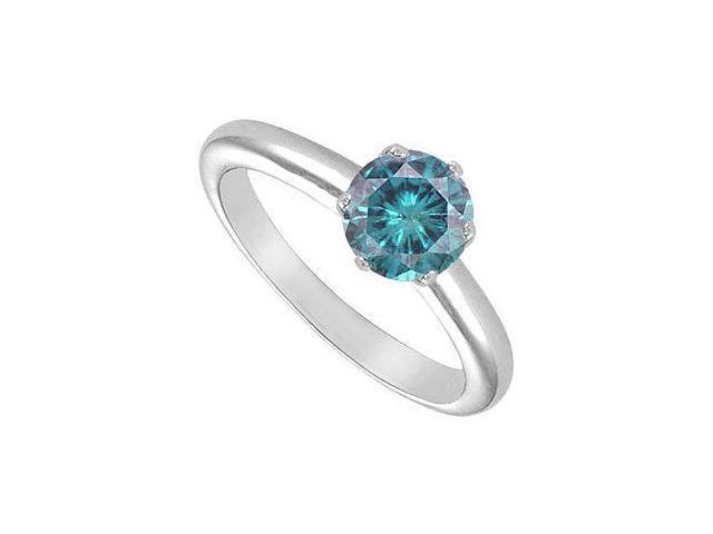 Blue Diamond Solitaire Ring  14K White Gold  1.50 CT Diamond