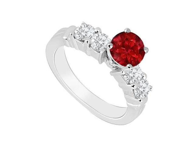 Birthstones Rubies and Cubic Zirconia  Engagement Ring  14K White Gold 1.00 CT TGW