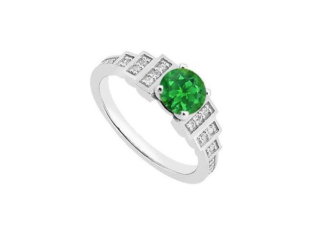 May Birthstone Created Emerald and CZ Engagement Rings in 14kt White Gold 1 CT TGW