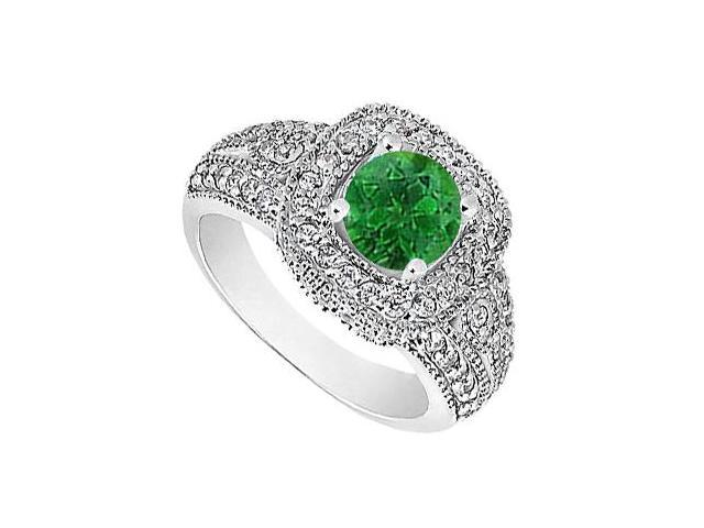 May Birthstone Natural Emerald and Diamond Milgrain Engagement Ring 14K White Gold 1.15 CT TGW