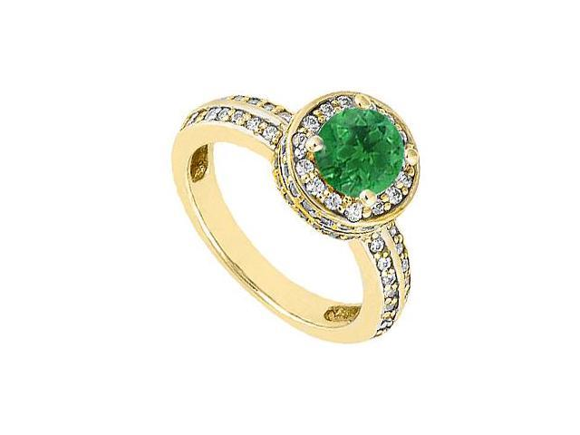 May Birthstone Natural Emerald Engagement Ring with Diamonds in 14K Yellow  Gold 1 Carat TGW