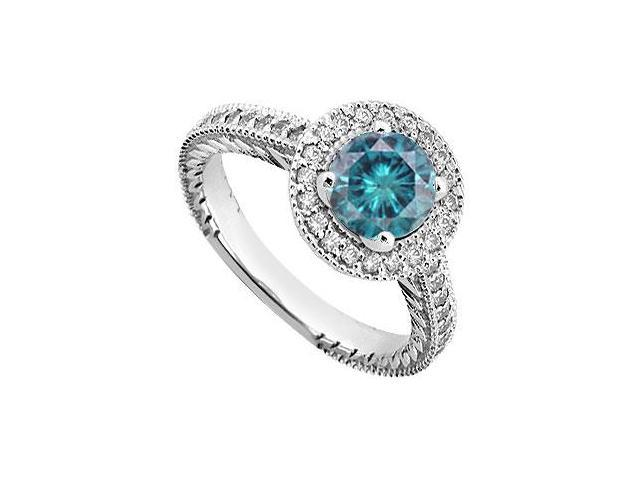 Blue  White Diamond Engagement Ring 14K White Gold  0.85 CT TDW