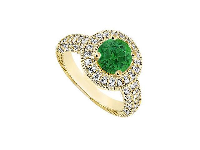 May Birthstone Emerald and Diamond Halo Engagement Ring in 14K Yellow Gold 1.75 CT TGW