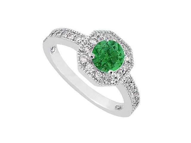 May Birthstone Green Emerald  Diamond Milgrain Engagement Ring in 14K White Gold 0.85 Carat TGW
