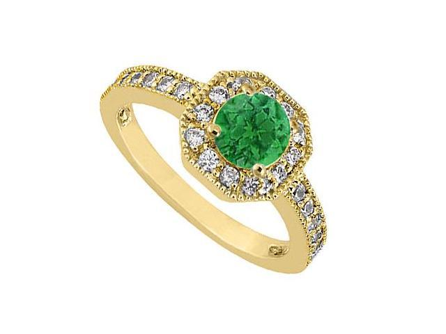 May Birthstone Green Emerald  Diamond Milgrain Engagement Ring 14K Yellow Gold 0.85 Carat TGW