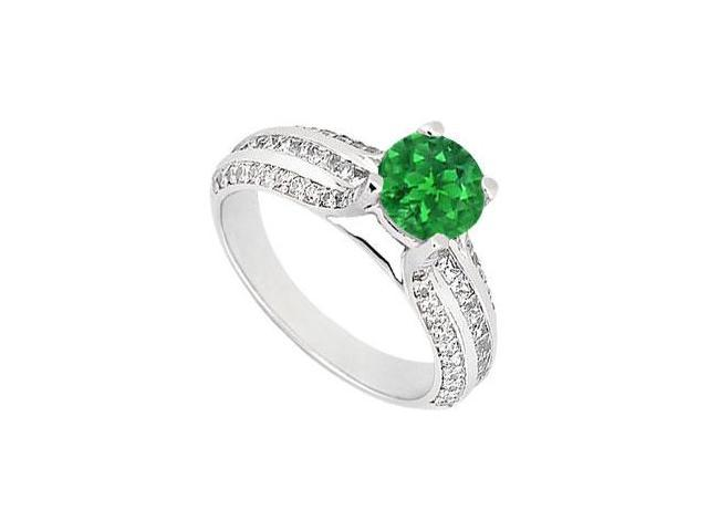May Birthstone Created Emerald  CZ Multirow Engagement Ring 14K White Gold 1.25 CT TGW