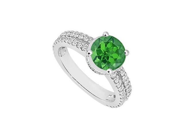 May Birthstone Created Emerald  CZ Multirow Engagement Ring in 14kt White Gold 1 CT TGW