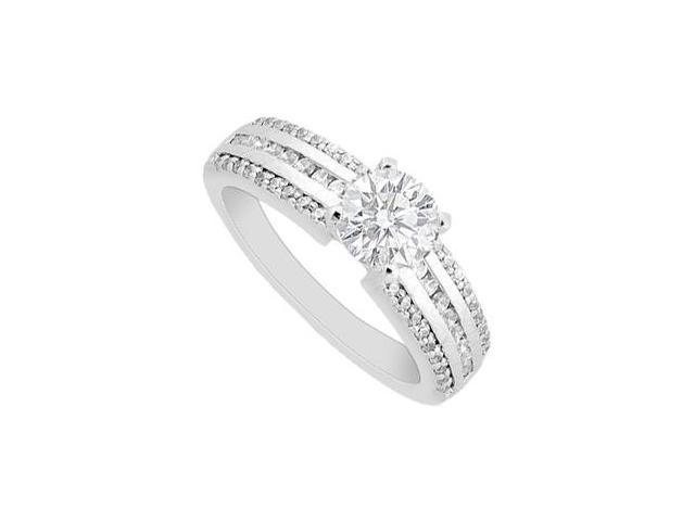 Diamond Engagement Ring in White Gold 14K 0.85 Carat Diamonds Pave Channel Setting