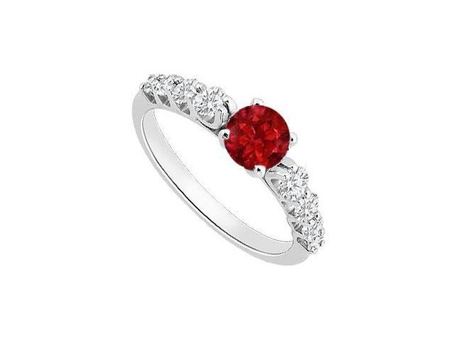 Birthstones Rubies and Cubic Zirconia Gorgeous  Engagement Rings 14k White Gold 1.25 CT  TGW