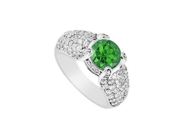 Created Emerald  CZ Multirow Side Studded Halo Ring with Wide Shank 14K White Gold 2 CT TGW