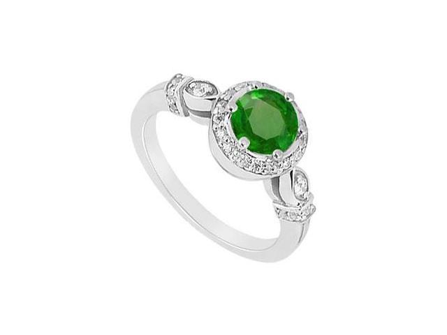 May Birthstone Created Emerald and CZ Leaf Motif Engagement Ring in 14kt White Gold 0.75 CT TGW
