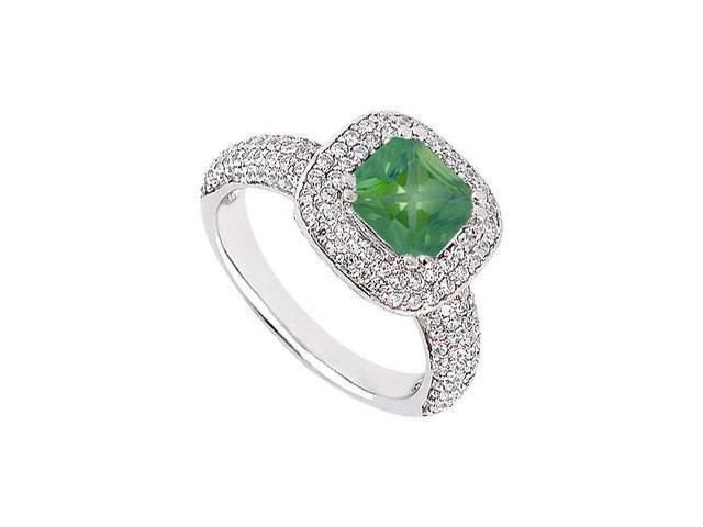 May Birthstone Created Emerald With Multirow CZ Engagement Ring 14K White Gold 1.50 CT TGW