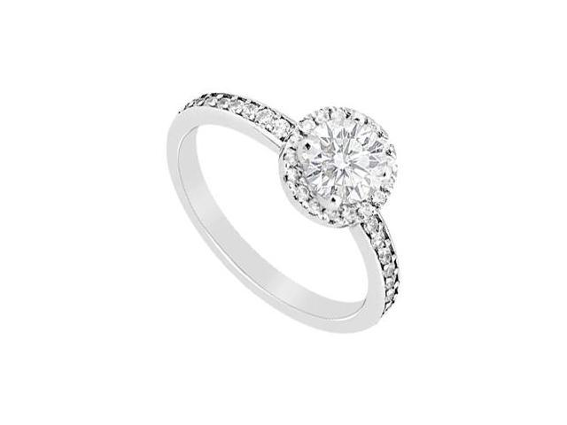Diamond Halo Engagement Ring in 14K White Gold 0.80 Carat Diamonds