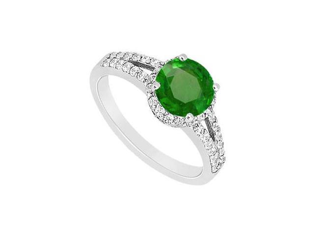 May Birthstone Created Emerald and CZ Split Shank Halo Engagement Ring 14K White Gold 1 CT TGW