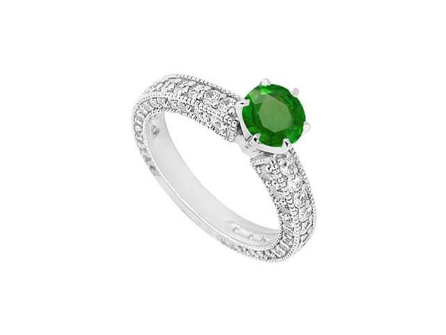 Tiffany Style May Birthstone Created Emerald and CZ Engagement Ring with Milgrain 1.50 TGW