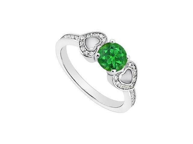 May Birthstone Created Emerald Heart Shaped Engagement Rings with CZ 14K White Gold 1 CT TGW