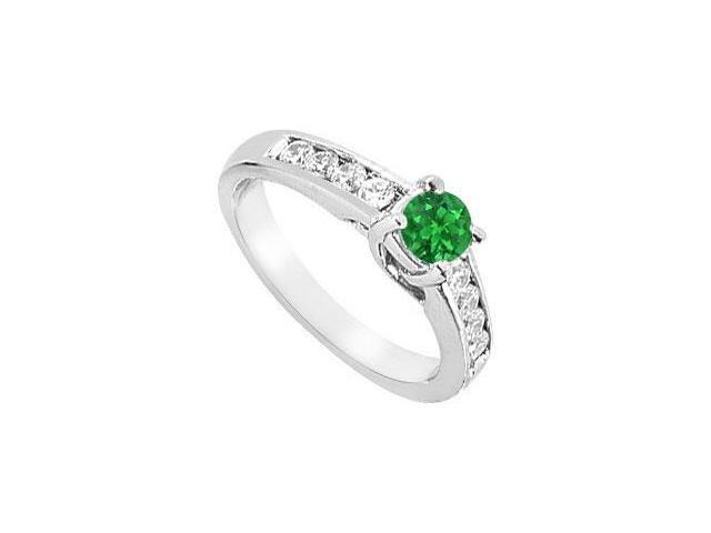 May Birthstone Created Emerald Engagement ring with triple AAA CZ in 14K White Gold 1 CT TGW