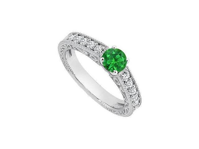 May Birthstone Created Emerald Milgrain Engagement Rings with CZ 14K White Gold 1.05 CT TGW