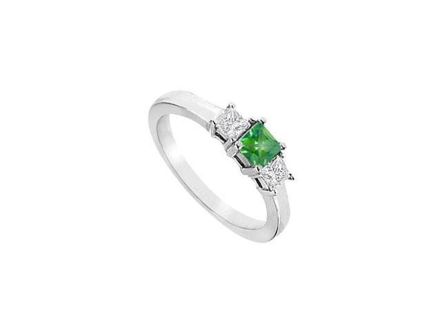 May Birthstone Created Emerald  Triple AAA CZ Three Stone Engagement Ring 14K White Gold