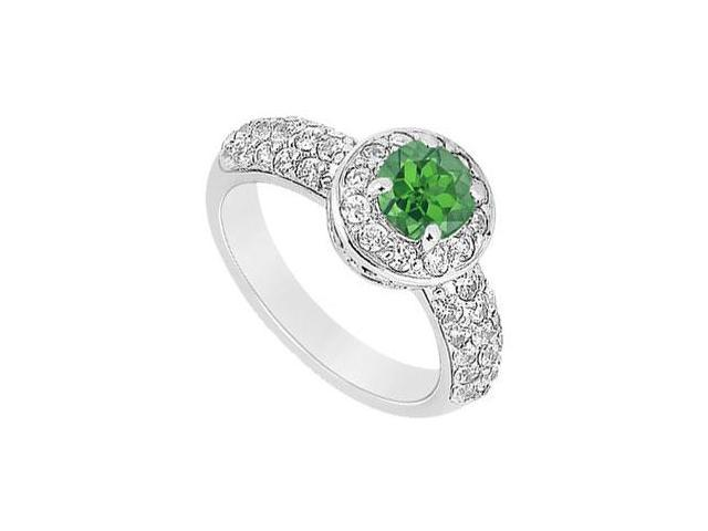 May Birthstone Created Emerald and CZ Halo Engagement Ring in 14K White Gold 1.25 CT TGW