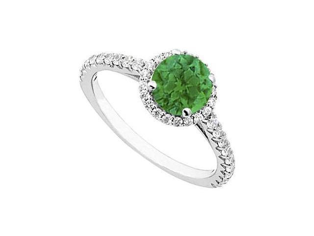 May Birthstone Emerald and Diamond Halo Ring in 14K White Gold 1 CT TGW