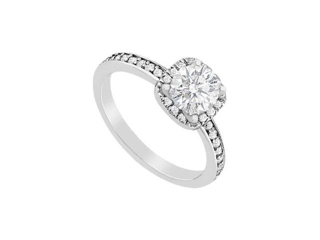 Halo Diamond Engagement Ring in 14K White Gold 0.80 Carat Diamonds