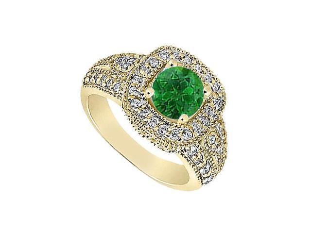 May Birthstone Created Emerald  CZ Milgrain Engagement Ring 14K Yellow Gold 1.25 CT TGW