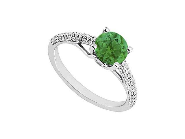 May Birthstone Emerald and Diamond Engagement Ring 14K White Gold 1.00 CT TGW