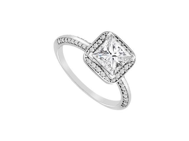 Princess Cut Diamond Engagement Ring in White Gold 14K 0.80 Carat Diamonds