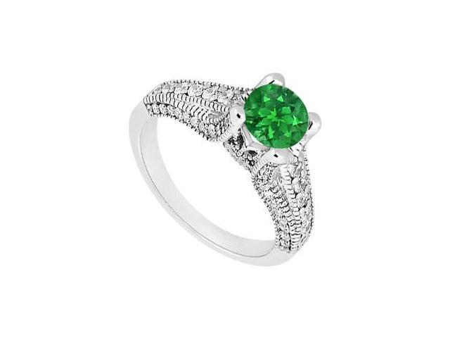 May Birthstone Created Emerald Milgrain Engagement Ring in 14kt White Gold 1.00 CT TGW