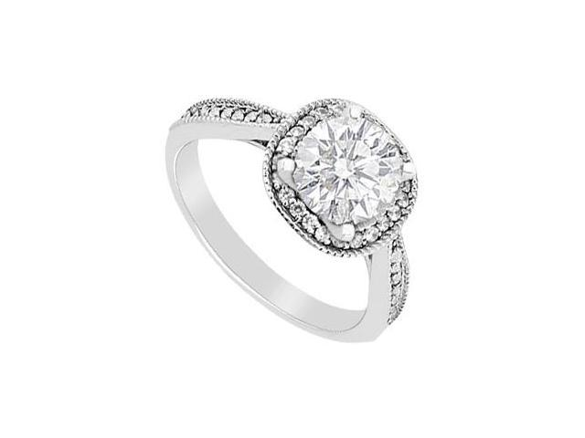 14K White Gold Diamond Halo Engagement Ring with 0.80 Carat Diamonds