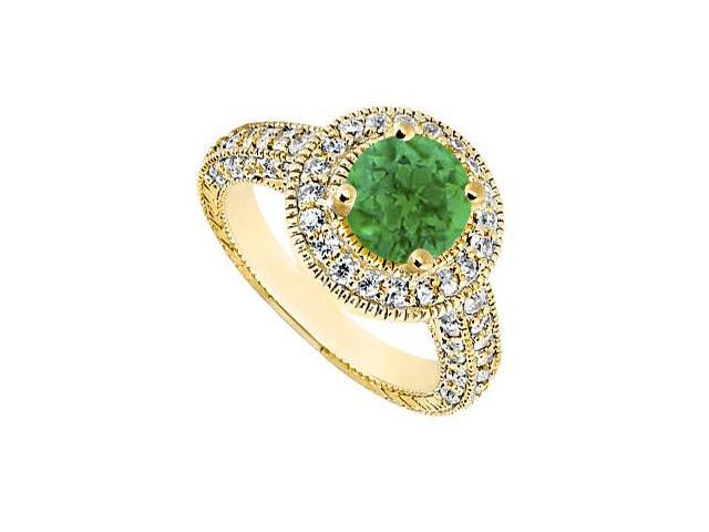May Birthstone Created Emerald  CZ Halo Milgrain Engagement Ring 14K Yellow Gold 1.30 CT TGW