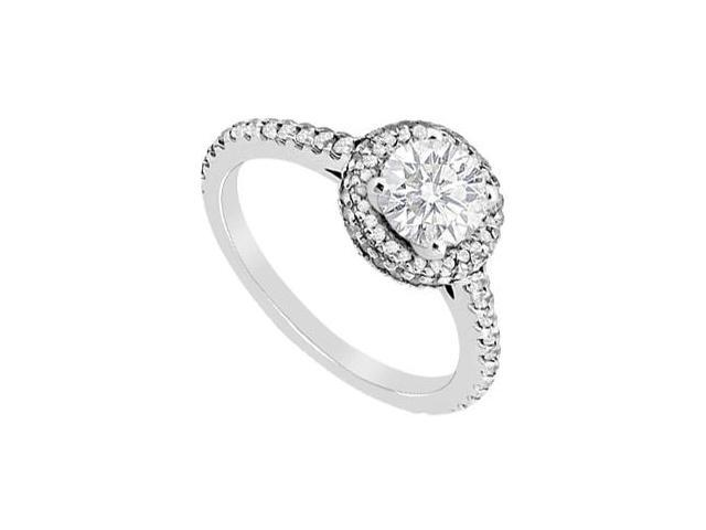 14K White Gold Diamond Halo Engagement Ring with 1.10 Carat Diamonds
