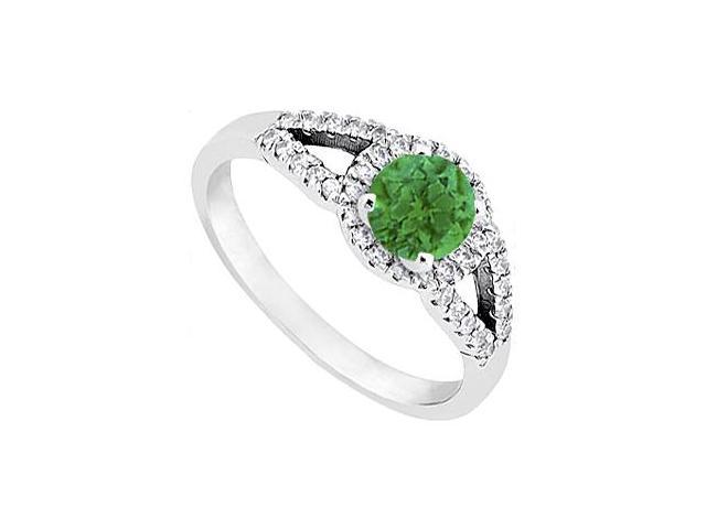 May Birthstone Emerald and Diamond Halo Engagement Ring in 14K White Gold 1 CT TGW