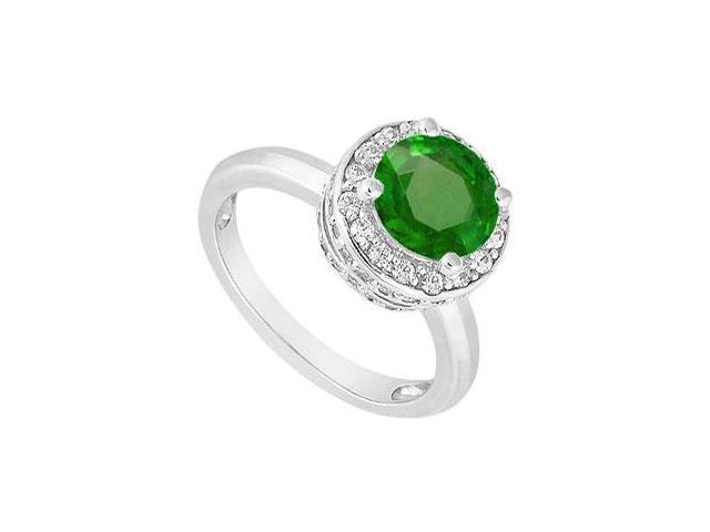 May Birthstone Created Emerald and CZ Halo Engagement Ring in 14K White Gold 1 CT TGW