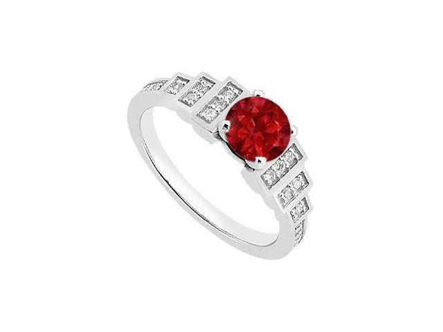 Round Engagement Ring Birthstones Rubies and Cubic Zirconia Gemstones 14K White Gold