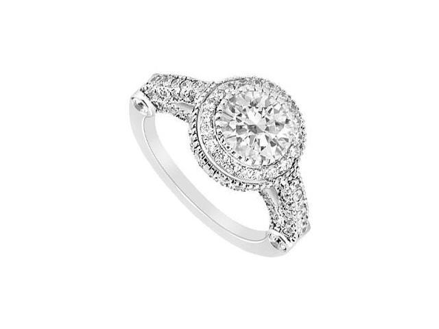 14K White Gold Halo Semi Mount Engagement Ring with 1.00 CT Diamonds Center Diamond Not Included