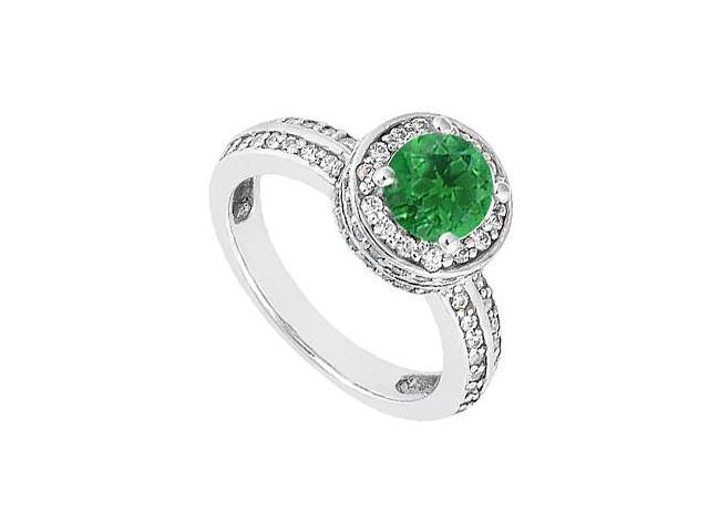 May Birthstone Created Emerald  CZ Halo Engagement Ring 14K White Gold 1 CT TGW
