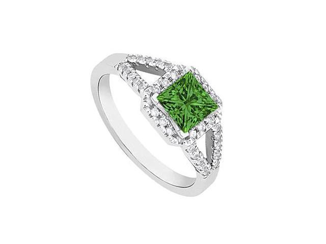 Square May Birthstone Emerald and Diamond Halo Engagement Ring in 14K White Gold 1 CT TGW