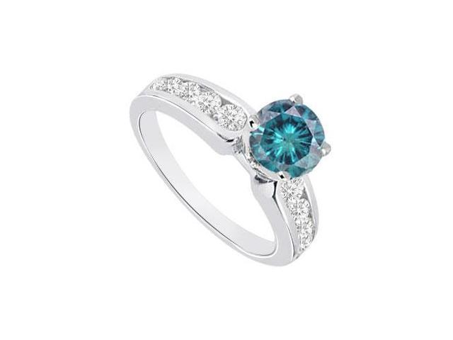 Blue  White Diamond Engagement Ring 14K White Gold  1.10 CT TDW