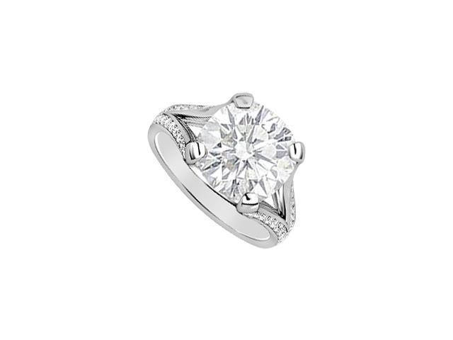 14K White Gold engagement Ring Cubic Zirconia and diamonds