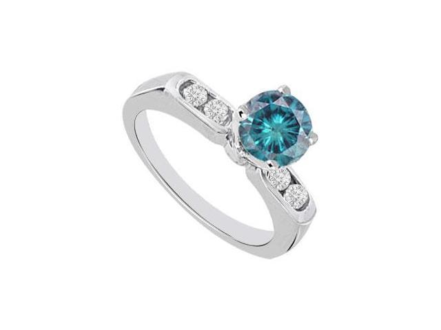 Blue  White Diamond Engagement Ring 14K White Gold  0.66 CT TDW