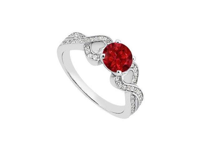 Round Engagement Ring Birthstones Rubies and Cubic Zirconia 14k White Gold 1.00 CT