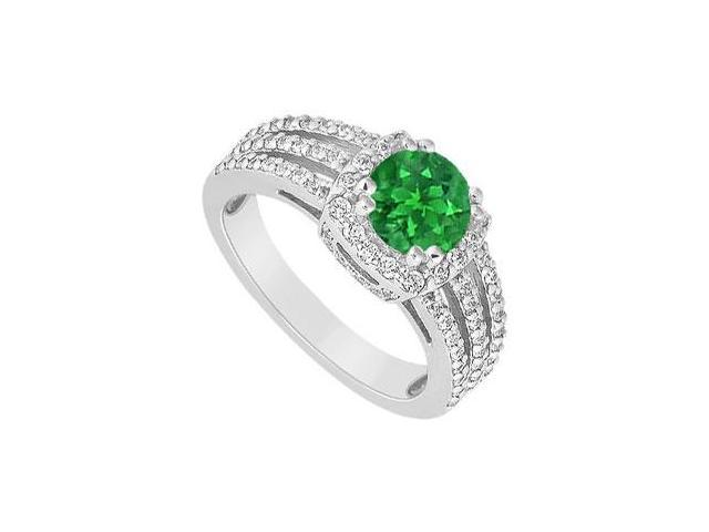 May birthstone Created Emerald  CZ Three Row Split Prong Halo Engagement Ring 14K White Gold