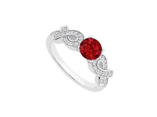 July Birthstones Engagement Ring Rubies and Cubic Zirconia 14K White Gold 1.00 CT