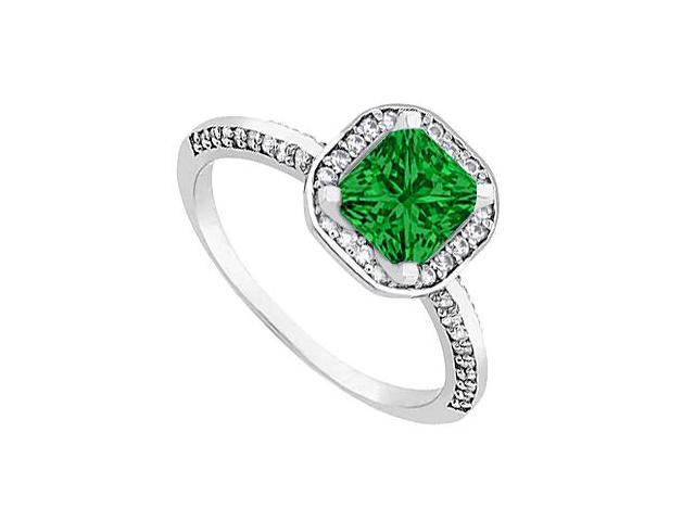 May Birthstone Emerald and Diamond Halo Engagement Ring in 14kt White Gold 1 CT TGW