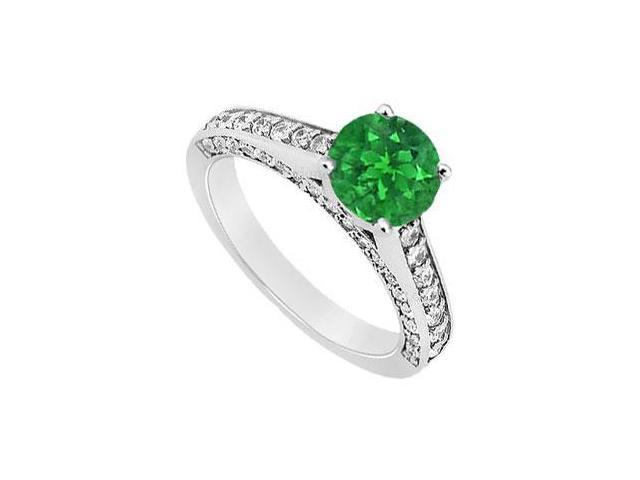 May Birthstone Created Emerald and CZ Engagement Ring in 14K White Gold 1.25 CT TGW
