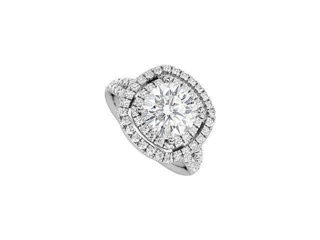Split Band Diamond Halo Engagement Ring with big CZ in 14K White Gold 3.85 Carat Total Weight